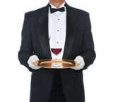 Waiter with Glass of Red Wine on Tray