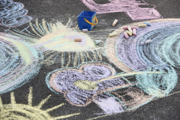 Chalk drawings on ground