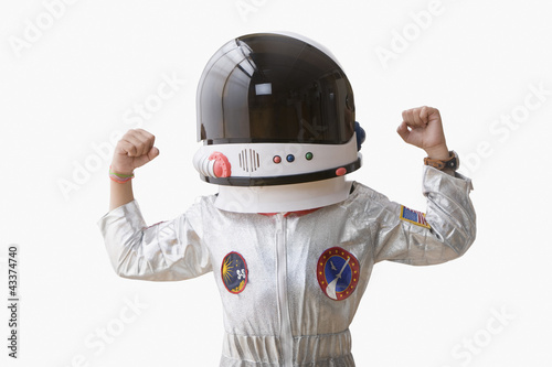 Hispanic boy dressed as astronaut
