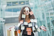 Caucasian businesswoman covered in sticky notes