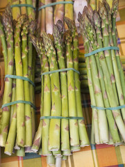 Close up of asparagus bunches