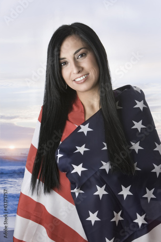 Turkish woman wrapped in American flag