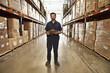 Hispanic man working in warehouse