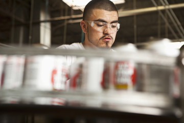 Hispanic man working on assembly line
