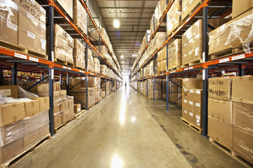 Shelves and boxes in warehouse