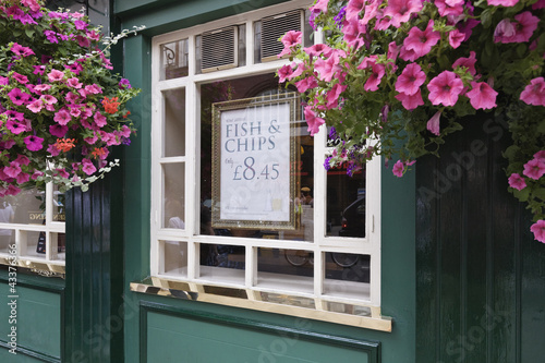 Flowers decorating pub window
