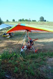 colorful hang gliders ready for the take off poster