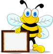funny bee cartoon character with board