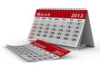 2013 year calendar. March. Isolated 3D image