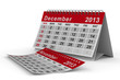 2013 year calendar. December. Isolated 3D image