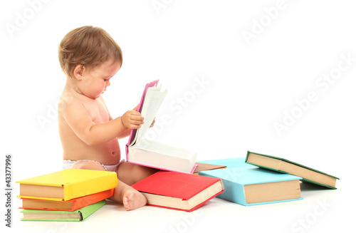 Cute baby with books isolated on white