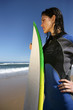 Brunette in wet-suit stood with surfboard