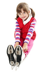 girl with an ice skates on white background