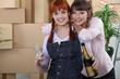 Two women celebrating house move