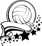 Volleyball Ball With Pennant & Stars Design