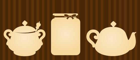 vintage ceramic tea pots with jar