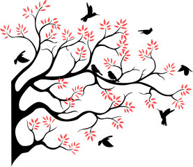 beautiful tree silhouette with bird flying