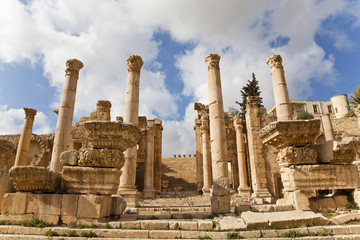 monumental gate leading to the temple of artemis, jerash, jordan