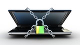 3d illustration of laptop computer locked with chains and padloc