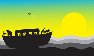 Noah's Ark, bible stories, vector image, EPS10
