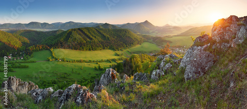 Landscape with rocky mountains at sunset in Slovakia