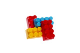 Lego plastic toy blocks, red, blue, yellow poster