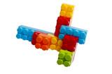 Lego plastic toy blocks, red, blue, green, yellow, orange poster