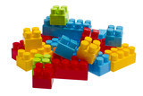 Lego plastic toy blocks, red, blue, green, yellow poster