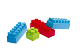 Lego plastic toy blocks red, blue, green poster