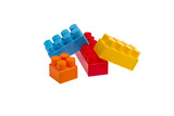 Red, blue, yellow and orange Lego plastic toy blocks poster