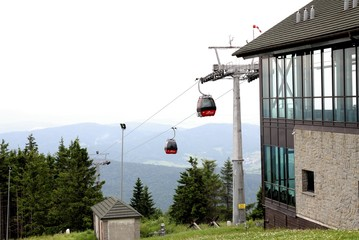 cable railway  and ropeway cars on Jaworzyna