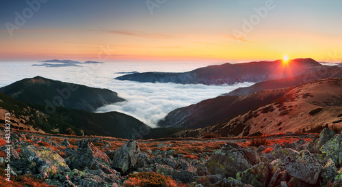 Summer landscape in Tatra mountains in Sllovakia. Sunrise