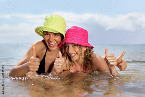 Young women swimming