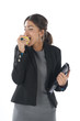 Waist up, healthy young executive woman, eating an apple.