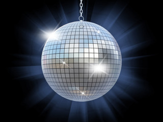 Closeup of a mirror ball on a black background
