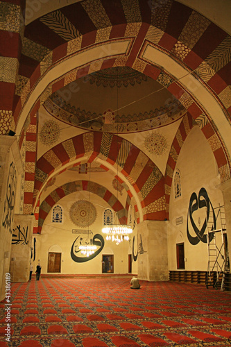 Indoor of historical Eski Mosque in Edirne,Turkey