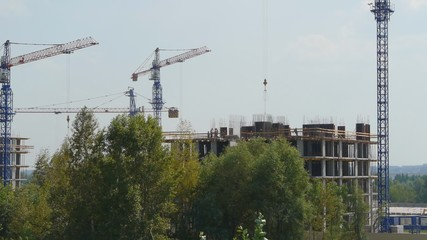 Construction the buildings with of cranes