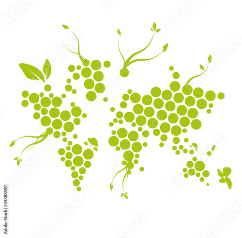 Green World ecology digital dot map network illustration