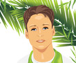 Portrait of a young man among palm branches