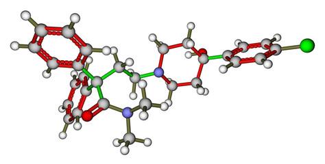 Loperamide, a diarrhea drug. 3D molecular structure