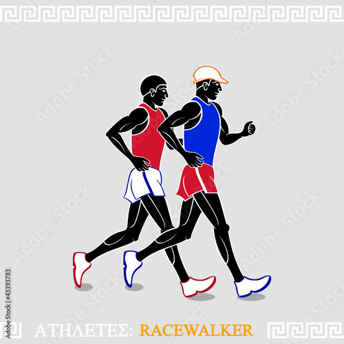 Greek art stylized racewalkers at the competition