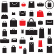 Shopping bags icons set. Sale sheamless background