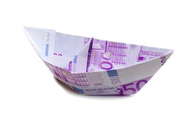 bateau en billet de 500 euros