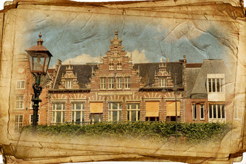 views of Amsterdam in vintage style, like postcards