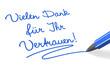 Stift & Schrift-Serie: Vielen Dank für Ihr Vertrauen! blau