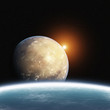 Leinwandbild Motiv Rising Desert Planet with Earth and Sun