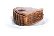 piece of chocolate cake with nuts