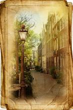 Uitzicht over Amsterdam in vintage stijl, zoals ansichtkaarten