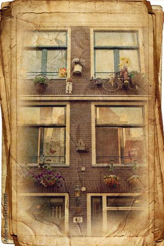 widoki Amsterdamu w stylu vintage, jak pocztówki