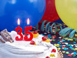 Birthday cake with red candles showing Nr. 35